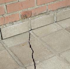 Cracked tiled terrace